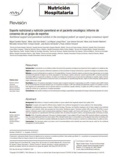 Revisión: Soporte nutricional y nutrición parenteral en el paciente oncológico: informe de consenso de un grupo de expertos
