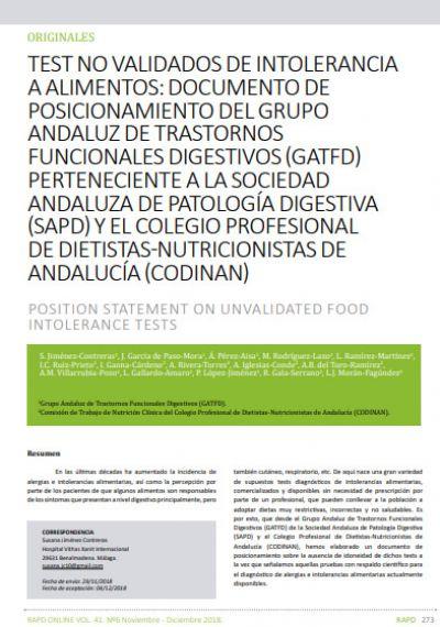 Documento de posicionamiento sobre los tests no validados de intolerancia a los alimentos
