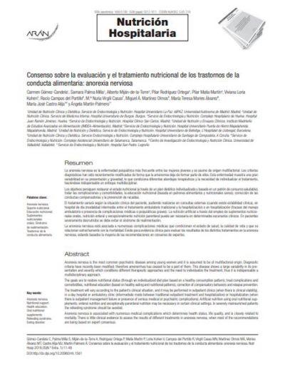 Consenso sobre la evaluación y el tratamiento nutricional de los trastornos de la conducta alimentaria: anorexia nerviosa