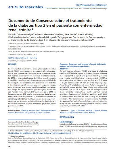 Documento de Consenso sobre el tratamiento de la diabetes tipo 2 en el paciente con enfermedad renal crónica