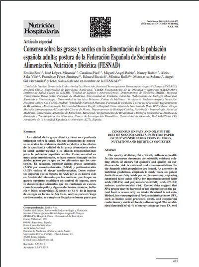 Consenso sobre las grasas y aceites en la alimentación de la población española adulta