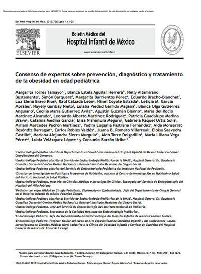 Consenso de expertos sobre prevención, diagnóstico y tratamiento de la obesidad en edad pediátrica