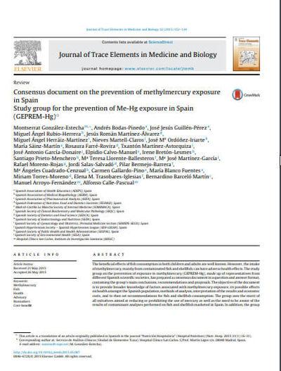 Documento de consenso sobre la prevención de la exposición al metilmercurio en España