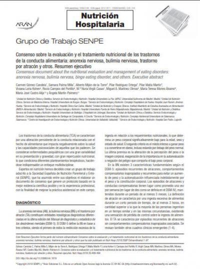 Consenso sobre la evaluación y el tratamiento nutricional de los trastornos de la conducta alimentaria: anorexia nerviosa, bulimia nerviosa, trastorno por atracón y otros. Resumen ejecutivo